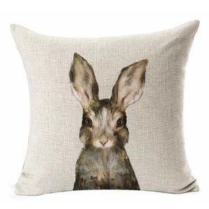 Other - Bunny Cotton Linen Pillow Throw Zipper Cover